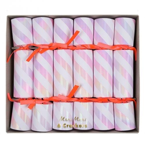 6 Petits Crackers Rose Iridescent (17,5 cm)