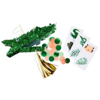 Contient : 1 x 3 Mini Pinata Déco/Cadeau Crocodile (14 cm)