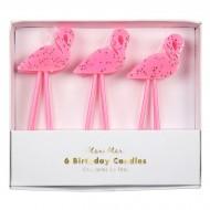 6 Petites Bougies Flamant Rose