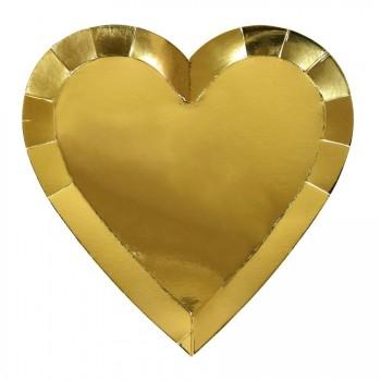8 Assiettes Love Coeur Or
