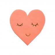 16 Petites Serviettes Love Coeur Rose