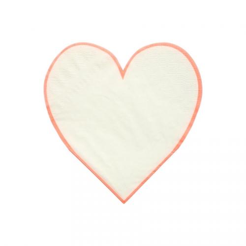 16 Petites Serviettes Love Coeur Blanc