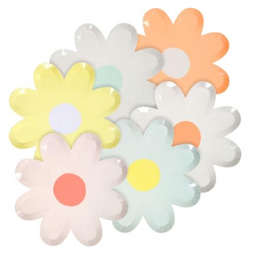12 Assiettes Fleurs Pastels