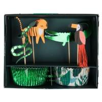 Contient : 1 x Kit 24 Caissettes et Déco Animaux Jungle