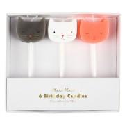 6 Mini Bougies Chat (7 cm)