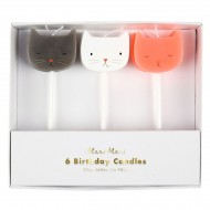 6 Mini Bougies Chat (7 cm)