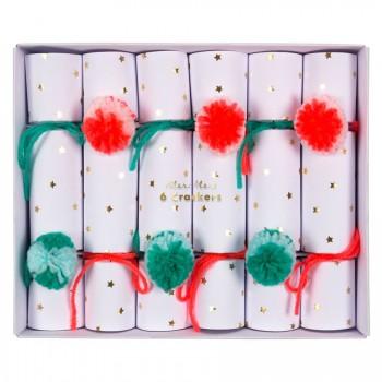 6 Crackers Pompons Rouge/Vert (19 cm)