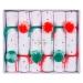 6 Crackers Pompons Rouge/Vert (19 cm). n°1