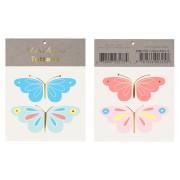 4 Tatouages Papillons Bleu/Rose