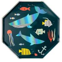 Contient : 1 x 8 Grandes Assiettes Sous la Mer