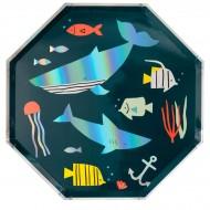 8 Petites Assiettes Sous la Mer