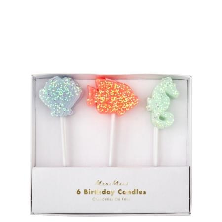 6 Bougies Sous la Mer Pastel Glitter