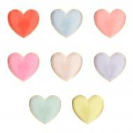 8 Petites Assiettes Coeurs Rainbow