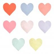 20 Serviettes Coeurs Rainbow