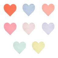 20 Petites Serviettes Coeurs Rainbow