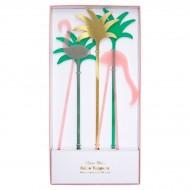 5 Maxi Pics Déco de Gâteaux Flamant Rose (25 cm) - Plastique