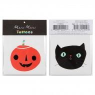 2 Tatouages Halloween - Citrouille et Chat