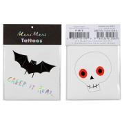 2 Tatouages Halloween - Chauve Souris et Squelette