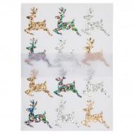 10 Planches de Stickers Noël - Rennes Glitter