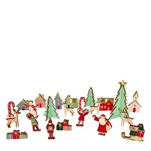 Calendrier de l Avent Village de Noël en bois