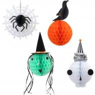 4 Décorations à Suspendre en Nid d'Abeille - Halloween Vintage