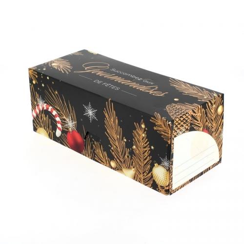 Boîte à bûche nuit de fête (25 cm) - Carton