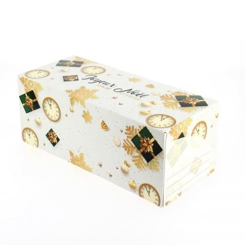 Boîte à bûche Joyeux Noël Horloge (25 cm) - Carton