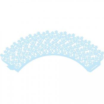 12 Wrappers à Cupcakes en Dentelles Bleu