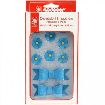 Kit 2 Noeuds et 8 Fleurs en Sucre Bleu