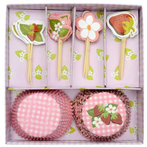 Kit 24 Caissettes et Déco à Cupcakes Fraises et Fleurs