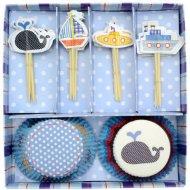 Kit 24 Caissettes et Déco Cupcakes Océan