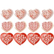 12 Petits Décors Coeurs à plat (6,5 cm) - Sucre