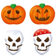 9 Stickers à biscuits Citrouille + Tête de Mort