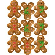 9 Stickers � Biscuits Bonhomme en pain d'�pices