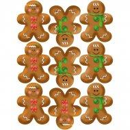 9 Stickers à Biscuits Bonhomme en pain d'épices