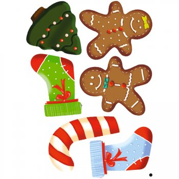 6 Stickers à Biscuits Noël Fun