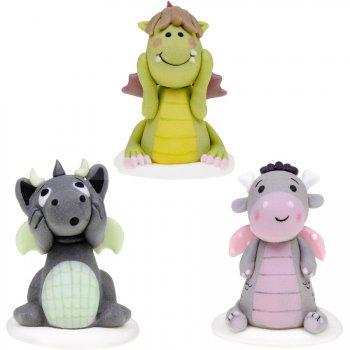 3 Grandes Figurines Dragons Mignons en Sucre