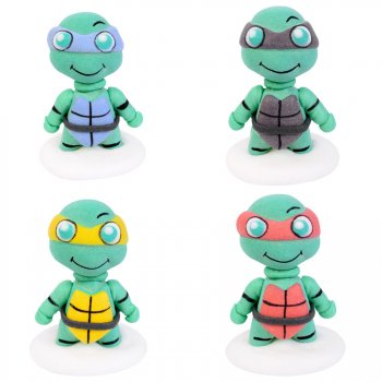 4 Figurines Tortue Warrior en sucre