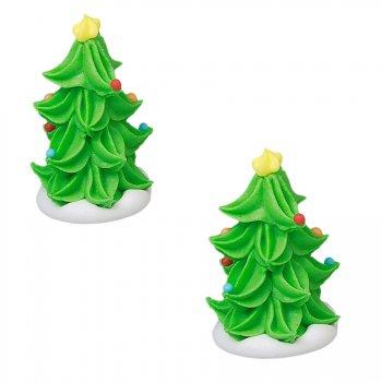 2 Mini Sapins de Noël 3D (4 cm) - Sucre