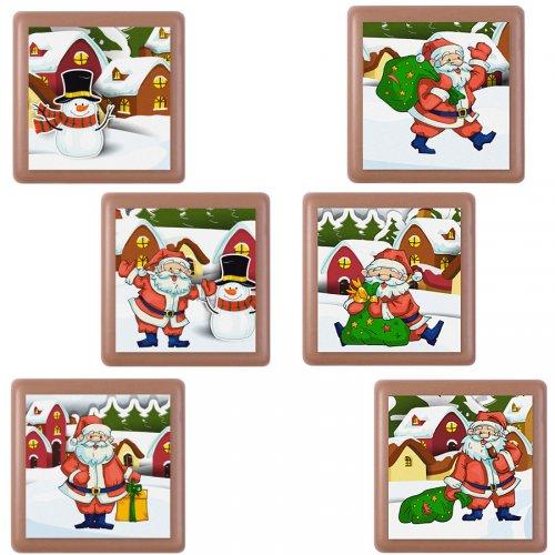 6 Carrés de Noël Chocolat au Lait (3,5 cm)