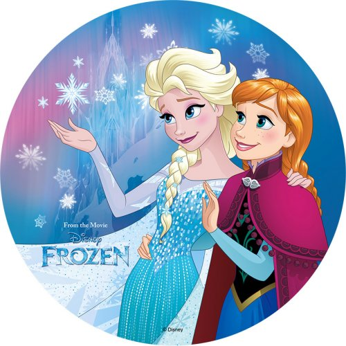 1 Disque Elsa Reine des Neige (21 cm) - Azyme