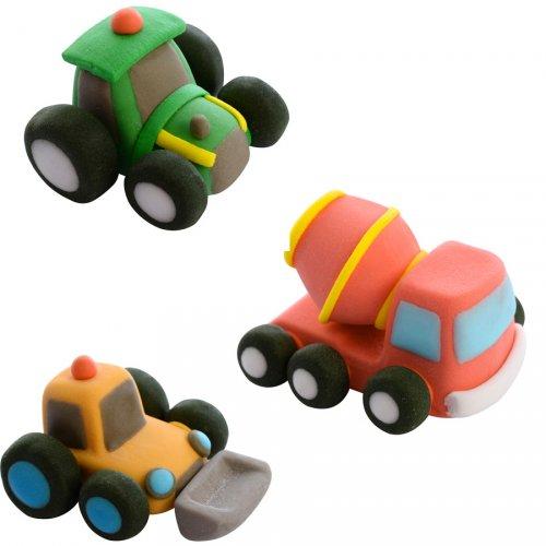 3 Camions de Chantier 3D (4 cm) - Sucre