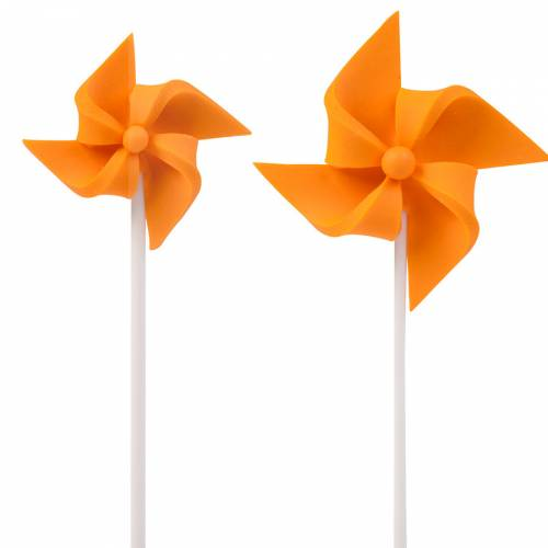 2 Moulins à Vent à piquer (4 et 7 cm) - Orange