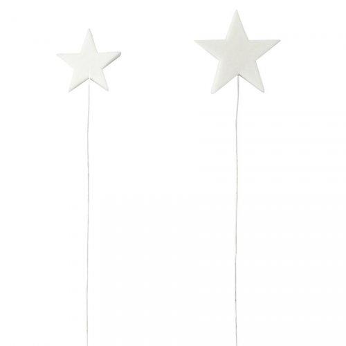 2 Etoiles Blanches à piquer (2,5 et 4 cm)