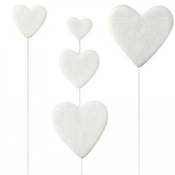 3 Coeurs Blancs à piquer