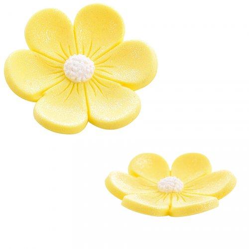2 Fleurs Anémones (3,4 cm et 2,2 cm) - Jaune