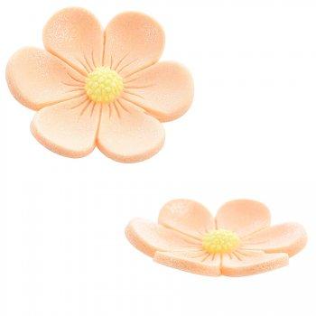 2 Fleurs Anémones (3,4 cm et 2,2 cm) - Orange saumon