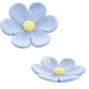 2 Fleurs Anémones (3,4 cm et 2,2 cm) - Bleu