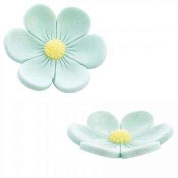 2 Fleurs Anémones (3,4 cm et 2,2 cm) - Vert menthe