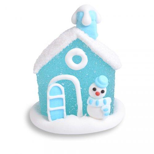 Mini Maison Enneigée 3D Bleu (4,5 cm) - Sucre